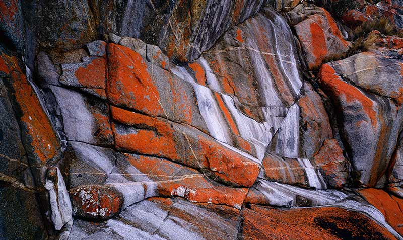 image of  Lichen and mineral salt stains, , Tasmania